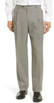 Men's Berle Pleated Houndstooth Wool Trousers $150 thestylecure.com