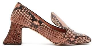 Rochas Pascal Python Effect Leather Block Heels - Womens - Pink Multi