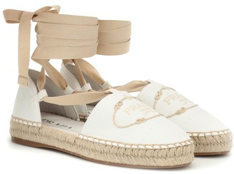 Prada Embroidered lace-up espadrilles
