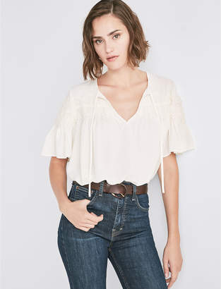 Lucky Brand SHORT SLEEVE LACE TOP