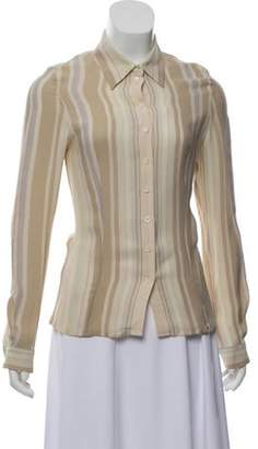 Celine Striped Button-Up Top Beige Striped Button-Up Top