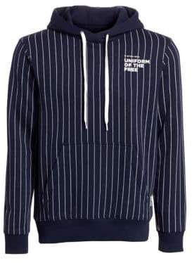 G Star Striped Cotton Hooded Sweatshirt