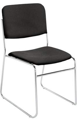 National Public Seating NPS 8600 Series Fabric Padded Signature Stack Chair, Ebony Black (Pack of 4)