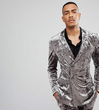 Asos DESIGN TALL Super Skinny Double Breasted Tuxedo Suit Jacket In Gray Crushed Velvet