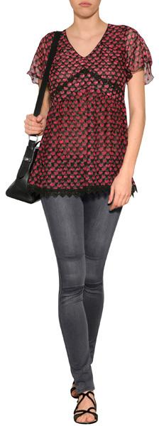 Anna Sui Ombre Hearts Silk Top