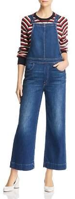 Mother Greaser Cropped Wide-Leg Denim Overalls