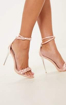 PrettyLittleThing Blush Platted Strap Satin Sandal