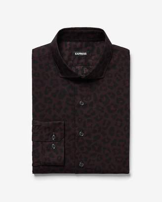 Express Slim Leopard Print Dress Shirt