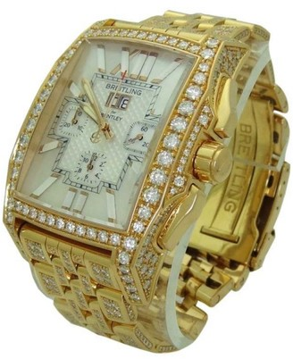 Breitling 18K Gold Diamond Bentley Flying B Chronograph Limited Edition Watch $90,000 thestylecure.com