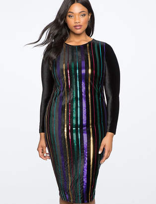 ELOQUII Sequin Stripe Dress with Velvet Sleeves