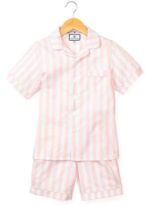 Petite Plume Modern Striped Pajama Set w/ Contrast Piping, Size 6M-14