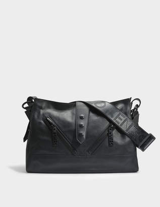 Kenzo Kalifornia Large Shoulder Bag in Black Calfskin