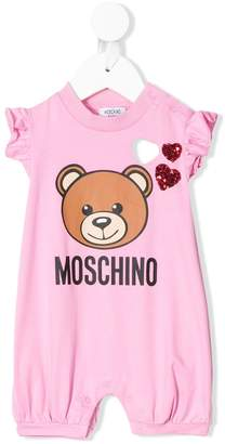 Moschino Kids toy print frilled romper