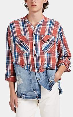 Greg Lauren Men's Plaid Flannel & Denim Studio Shirt - Red