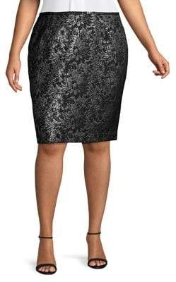 Calvin Klein Metallic Jacquard Pencil Skirt