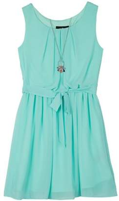 Amy Byer Tuck Front Belted Dress with Necklace (Big Girls)