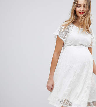 Asos Flutter Sleeve Lace Skater Dress
