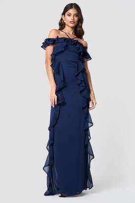 Trendyol Halter Strap Frill Maxi Dress Navy