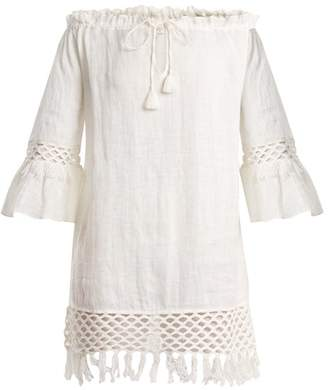 Biondi - Off The Shoulder Linen Dress - Womens - White