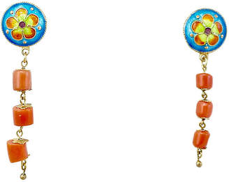 One Kings Lane Vintage Chinoiserie Enamel & Coral Earrings