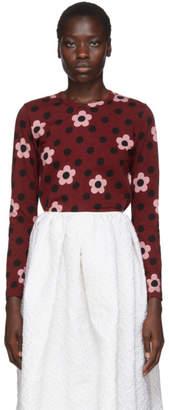 Comme des Garcons Burgundy Floral Polka Dot Long Sleeve T-Shirt