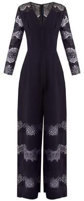 Huishan Zhang - Faye Lace Panelled Crepe Jumpsuit - Womens - Navy