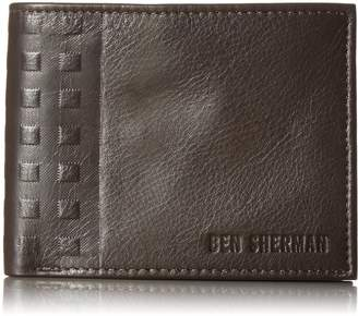 Ben Sherman Men's Holland Park Full Grain Cowhide Leather Passcase Wallet with Rfid Protection
