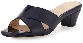 Taryn Rose Obert Patent Crisscross Mule Sandal $230 thestylecure.com
