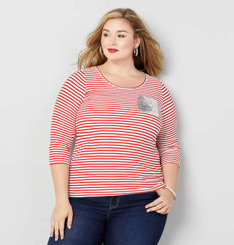 Avenue Sequin Pocket Striped Sweatshirt