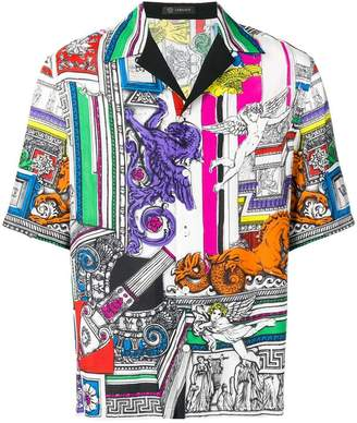 Versace colour-block print shirt