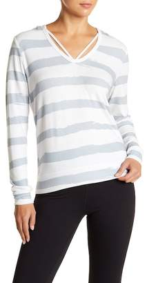 Betsey Johnson Strappy V-Neck Stripe Hoodie