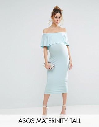 ASOS Maternity TALL Midi Bardot Pencil Dress With Ruffle $35 thestylecure.com