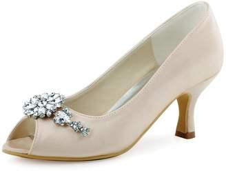 Elegantpark HP1541 Women Satin Peep Toe Flower Rhinestones Chains Mid Heel Pumps Evening Party Prom Shoes US 10