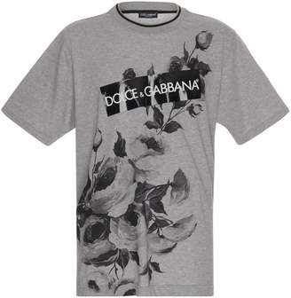 Dolce & Gabbana Floral Printed Cotton-Jersey T-Shirt
