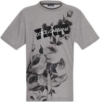 Dolce & Gabbana Floral Printed Cotton-Jersey T-Shirt