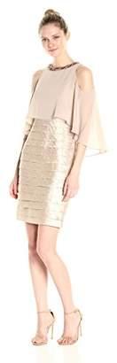 London Times Women's Cold Shoulder Round Neck Sheath Dress