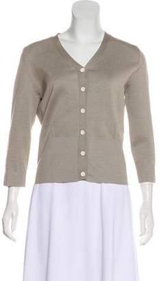 Rochas Long Sleeve Silk-Blend Cardigan