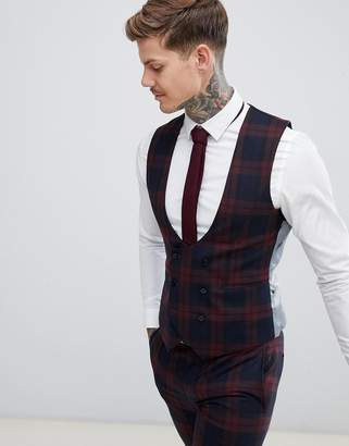 Twisted Tailor super skinny vest in burgundy check