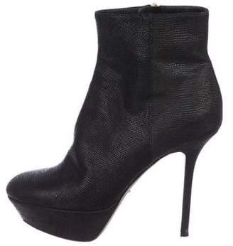 Sergio Rossi Lizard Round-Toe Boots