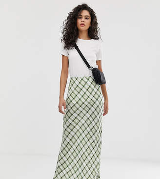 Asos Tall DESIGN Tall check print bias cut city maxi skirt
