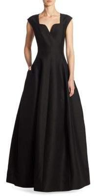 Halston Geo Neckline Ball Gown
