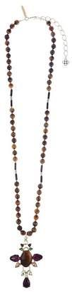 Oscar de la Renta Semi-Precious Crystal Pendant Necklace