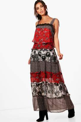 boohoo Petite Ruffle Tiered Mixed Print Maxi Dress
