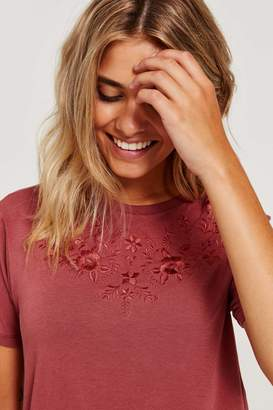 Ardene Floral Embroidered Tee