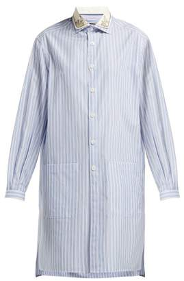 Gucci Striped Long Line Cotton Shirt - Womens - Blue Stripe
