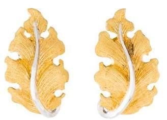 Buccellati 18K Leaf Clip-On Earrings