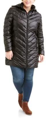 Big Chill Women's Plus Size Long Chevron-Quilt Hooded Down Blend Coat