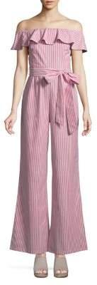 WAYF Striped Off-The-Shoulder Cotton Jumpsuit