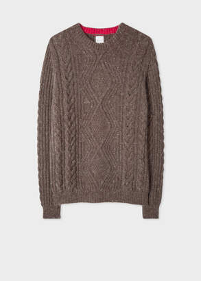 Paul Smith Men's Brown Wool-Mohair Donegal Cable-Knit Sweater