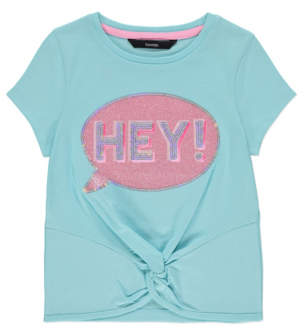 Bell George Turquoise Hey Slogan Embellished Knot Front T Shirt